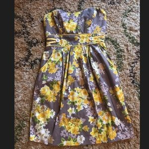 Strapless Yellow Floral Trixxi Dress